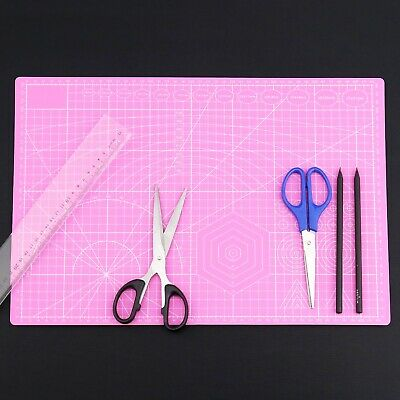 Cutting Mat Self Healing A3 Double Sided Craft Printed Grid Lines Board Pink