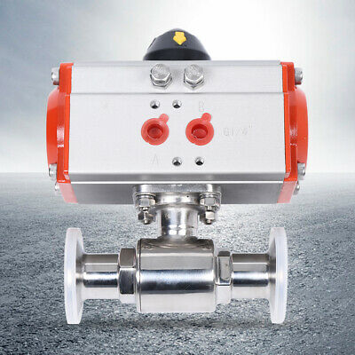 """1"""" Inch Pneumatic Air Actuated Stainless Ball Valve Single Acting Spring Return"""