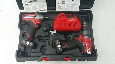 Milwaukee FUEL M12 CPD  Combi Drill &  M12 CIW12 Impact Wrench 1/2 Inch