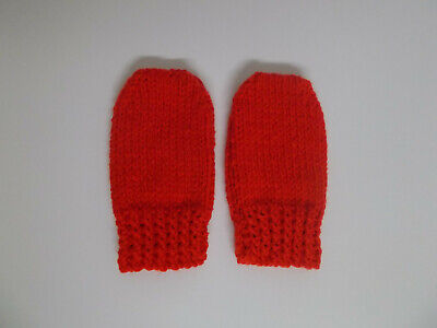 Hand Knitted Baby Mittens Baby Girls Baby Boys 3-6 months Red