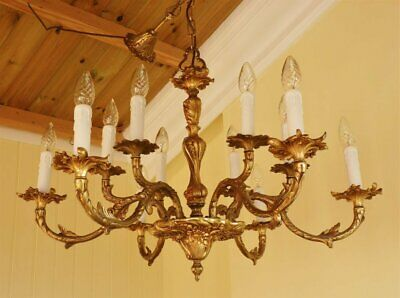 Vintage 1940s Gilt brass French Rococo chandelier Baroque ceiling light 12 arm