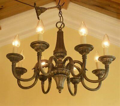 1940s Vintage Silver French Rococo chandelier ceiling light 8 arm Art Deco Chic