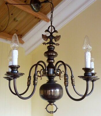 Antique Vintage Brass Flemish Chandelier 5 lamp ceiling light French Chic