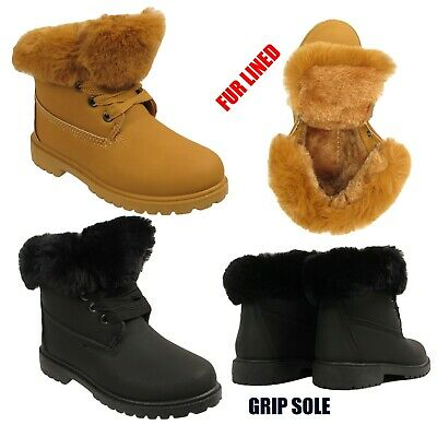 Kids Girls Winter Ankle Grip Sole Snow Fur Collar Lined Warm Combat Boots Shoes