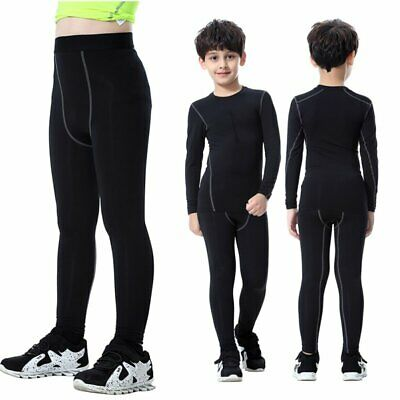 Kids Boys Long Leggings Compression Base Layer Pants Tight Running Trousers