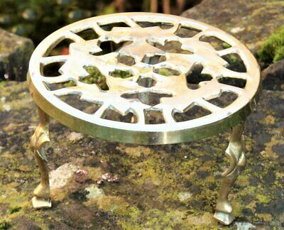 Vintage brass trivet stand ideal for a flat iron or copper kettle
