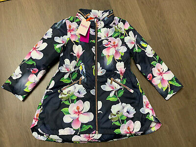New Ted Baker Opal Girls Floral Mac Coat Jacket Size 6-7 Years