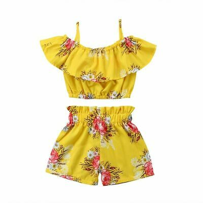 Clothing Toddler For Baby Kid Girl Floral Outfit Strap Vest Tops Shorts 2Pc Set