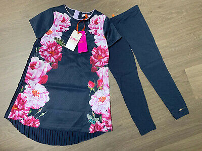 New Ted Baker Girls Dress Outfit With Leggings Size 7-8 Years
