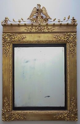 Antique 19th Century George II Style Parcel Gilt Wall Mirror Foxed Glass