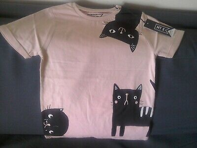 Girls Salmon Pink Cat T-Shirt/Top By My K Age 7-8 Years Mothercare