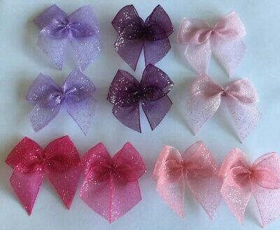 GlitterRibbonBows Bundle Cardmaking/Scrapbooking Pinks/Purples Lot5 BUY2GET1FREE