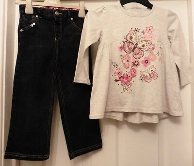 GIRLS TOP by MATALAN + PAIR OF STRETCH JEANS by JASPER CONRAN, 3 - 4 YRS