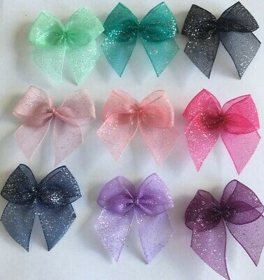 Glitter Ribbon Bows Cardmaking/Scrapbooking Multi-Colour Job Lot 12 BUY2GET1FREE