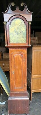 Antique Grandfather Longcase Clock Brass Face
