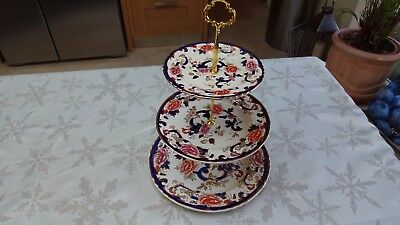 "Masons ""Blue Mandalay""  Three Tier Cake Stand - Made In England"