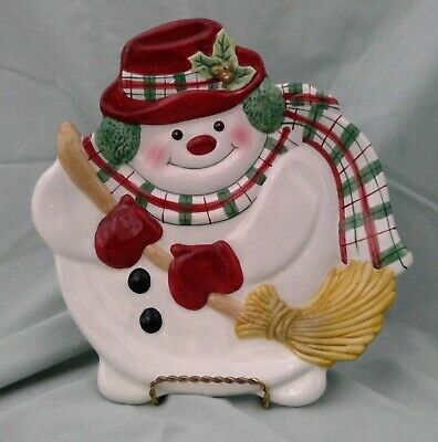 FF FITZ AND FLOYD ESSENTIALS PLAID CHRISTMAS Snowman Cookie Canape Plate 9 inch