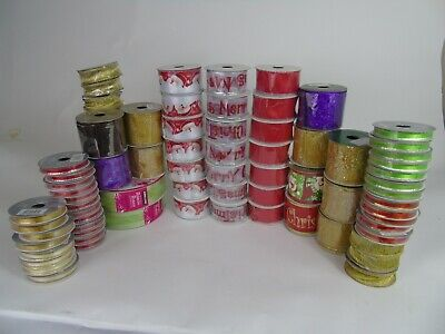 Job Lot Wholesale 77 Rolls Wired Ribbon Christmas over 300 Metres