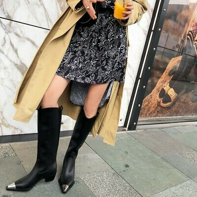 Women Chunky Heel Cow Leather Pointed Toe White Black Mid Calf Boots Punk Party