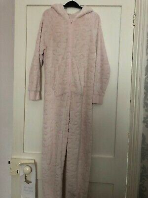 Girls Pink Next Hooded Fleece Leopard Print Burnt Out All In One Next Age 11