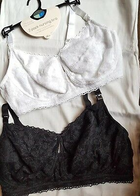 NWT 2 Pack Blooming Marvellous Mothercare Lace Nursing Bra Black & White 38F £30