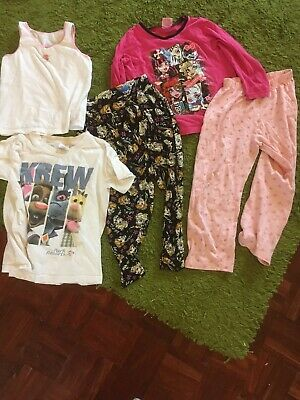 7 Item Bundle Of Girls 5-6 Years Clothes Monster High Frozen Pjs Trousers, Pants