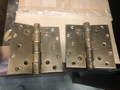 "MASSIVE pair vintage Brass Stanley door hinges 6"" x 6"" BB199 patent 2154860 USA"