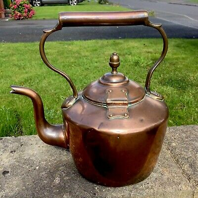 Rare Heavy Antique Solid Copper Kettle 19th Century Victorian Teapot Hinged Lid