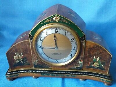 Antique Chinisierie Smiths Cricklewood Mantel Clock In Excellent Condition.