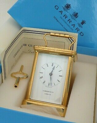 High Quality Garrard 8 Day Gold Plated Carriage Mantle Clock With Original Box