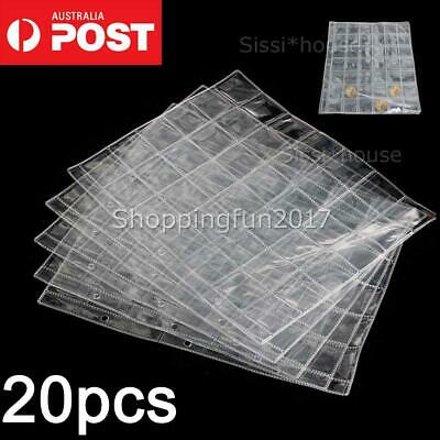 20 pcs 42 Pockets Coin Holders Folder Pages Collection Album Storage Book Sleeve