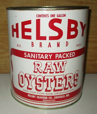Scarce Vintage Helsby Brand Oyster Gallon Tin Can-Packer Md 189