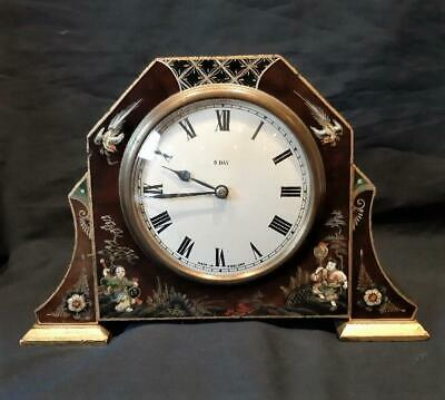 Lovely Smiths Chinoiserie Chinese Mantel Clock Hand Painted Wood