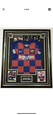 LIONEL MESSI of Barcelona Signed Photo with Jersey Shirt Autographed Display