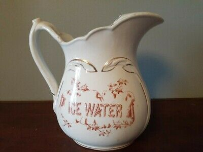 """Antique Warranted K.T.K.Granite Ice Water pitcher 9 1/2"""" tall"""