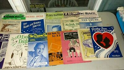 Vintage a lot of sheet music, Americana, shabby country, Victorian pictures