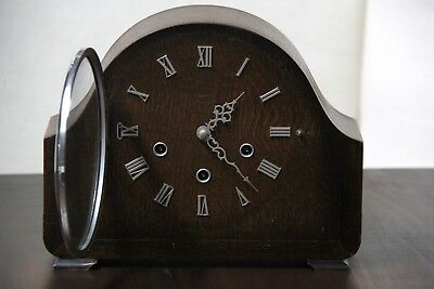 Vintage 1950s Smiths 8 Day Westminster Chimes Mantle Clock With Key And Manual