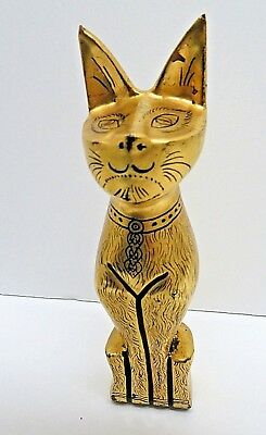 Gold Lacquer Painted Cat Figurine - Statue