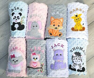 Personalised Baby Girl Boy Blanket Luxury Embroidered Soft Fluffy Blue Pink