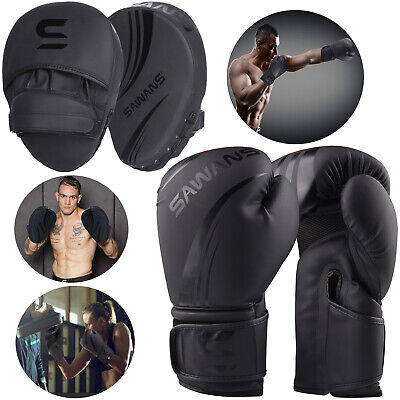 SAWANS® Leather Boxing Gloves And Focus Pads Set Punch Bag Hook Jab MMA Training