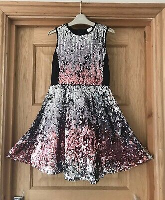 RIVER ISLAND *9y GIRLS SPARKLY SEQUIN  Party DRESS OUTFIT AGE 9 YEARS