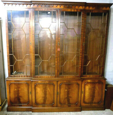 large,antique,repro,breakfront,8 door,glazed,mahogany,bookcase,cupboard,shelves