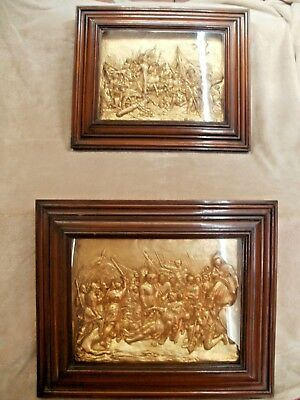 Antique (Mid-Victorian) Mahogany box frames containing gilded plaster relief