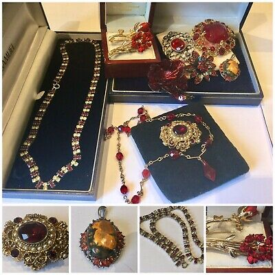 Job Lot Vintage Art Deco Ruby Red Crystal Jewellery Brooches,Necklace Inc Silver