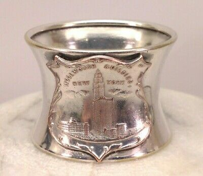 Antique Woolworth Building New York Silver Plate Napkin Ring N.y. Advertising