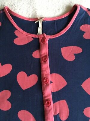 Next One Piece Pj Girls Size 7-8 Years Good Condition Navy / Blue Pink Hearts