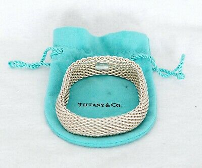 Tiffany & Co 925 Sterling Silver Somerset Mesh Bracelet with Pouch (B1452)