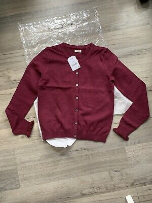 BNWT Next Girls Long Sleeve Deep Red Cotton Knit Cardigan Age 11 Frill Sleeves