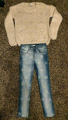 Girls Bluezoo; Matalan winterChristmas outfit fluffy jumper & star jeans 7 years