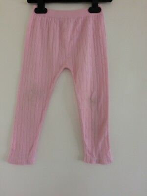 Girls Knit Style Pink Leggings From Young Dimension Age 24-36 Months